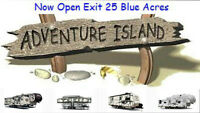 **LOOK AT THE CAMPERS** ON ADVENTURE ISLAND LOTS IN STOCK