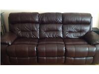 New 'Furniture Village' Leather 3 Seater Power Recliner Sofa in Perfect Condition