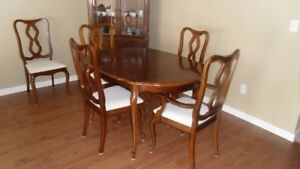 Canadian made solid wood dining table and 6 chairs