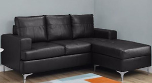 SECTIONNEL - BONDED BLACK LEATHER