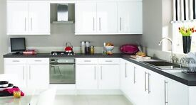 White Gloss Kitchen with or without Appliances For Sale