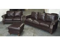 STUNNING Chesterfield Brown Leather Sofa Set.WE DELIVER