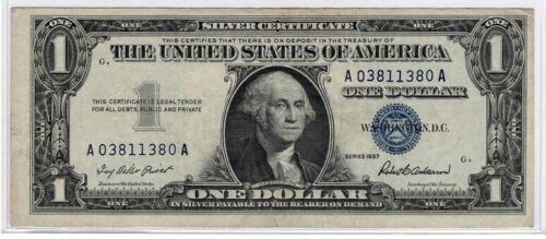 1957 $1 One Dollar Silver Certificate Crisp Extra Fine Blue Seal