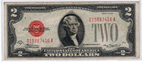 ✯ 1928 Series ✯ $2 ✯ Red Seal notes ✯ XF - AU