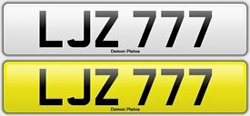 LJZ 777 REGISTRATION PLATE FOR SALE NUMBERPLATE PERSONALISED NORTHERN IRISH NUMBER PLATE