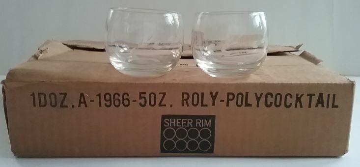 Twelve Roly Poly Clear 5 Oz Glasses MIB Vintage 1960