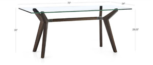 Crate and Barrel Strut Bourbon Glass Top Table for Sale!