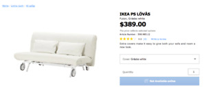 IKEA PS LÖVÅS Futon, Gräsbo white (LIGHTLY USED REDUCED PRICE)