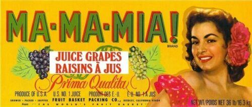 MA-MA-MIA Brand Juice Grapes Crate Label