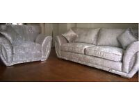 Silver Crushed velvet 3seater sofa and arm chair