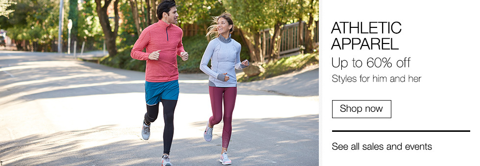 Athletic Apparel Up to 60% off | Styles for him and her | Shop now