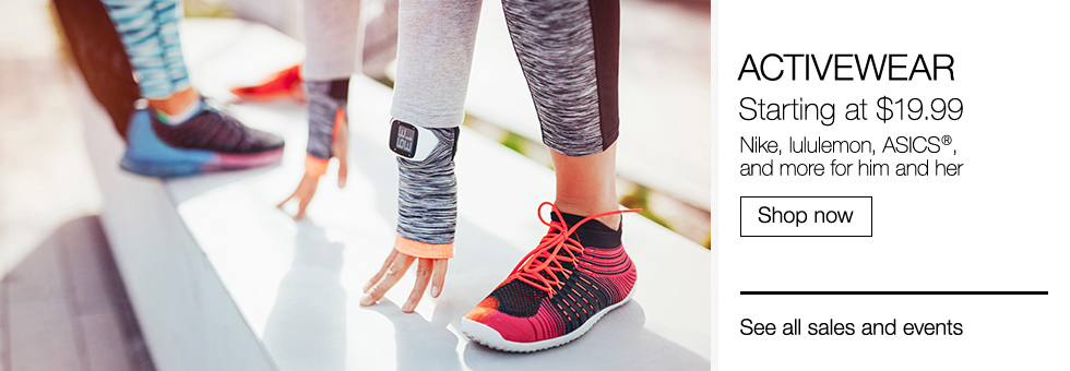 Activewear Starting at $19.99 | Nike, lululemon, ASICS, and more for him and her | Shop now