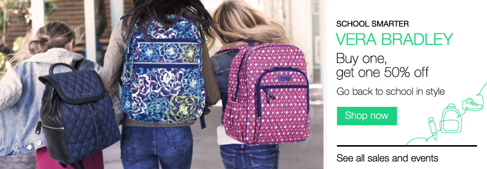 School Smarter | Vera Bradley | Buy one, get one 50% off | Shop now