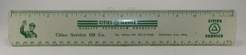 "CITIES - SERVICE Oil Company 12"" metal ruler - Oklahoma City, OK BEAUTIFUL!!"