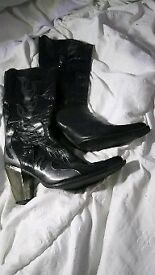 NEW ROCK BLACK LEATHER BOOTS WITH SILVER FLAMES