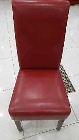 6 Real leather red dining chairs