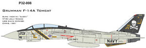 CAM PRO DECAL, 1/32 SCALE, P32-008, F-14A, VF-84,  Jolly Rogers
