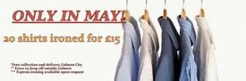 Only in May!! Shirts ironed for special price! Book your slot!