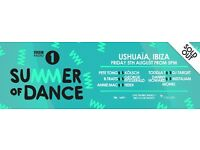 3x Radio 1 Ushuaia Ibiza tickets for Friday 5th August