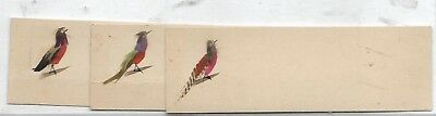 3 Red Breasted Birds Cards Taped together No Advertising Vict Card c1880s