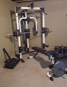 Spectrum Power Rack Lat Pec Deck Bench Leg Ext Curl Weight Bar