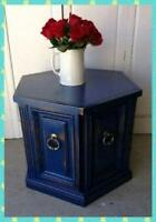 Navy Blue with gold accent, shabby chic side table.