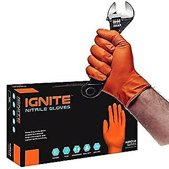 IGNITE Orange Gloves Nitrile Powder Free Heavy Duty Premium 7mm Thick SIZE XL