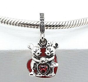 Pandora Sterling Silver Minnie & Mickey With Love Dangle Charm