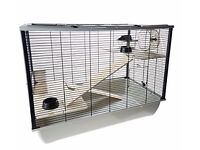 Little Friends Langham Tall Rat and Hamster Cage with Two Floors, 77 x 47 x 58 cm, Silver/ Black