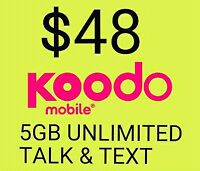 $48 Koodo 5GB LTE Data + Unlimited Talk Text Canada Wide Plan