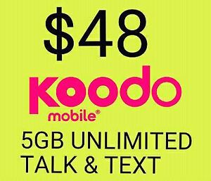 $54 Koodo (Telus Bell Networks) 6GB LTE Data + Unlimited Plan