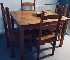 Solid pine distressed wax table & 4 chairs