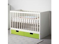 Beautiful White Ikea Stuva Cot & Mattress - Excellent Clean Condition
