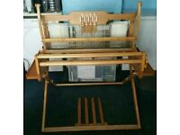 Ashford 4 shaft folding table weaving loom with stand treadles warping board and raddle