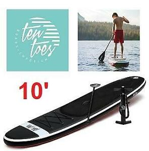 NEW TEN TOES 10 SUP PADDLE BOARD 2590 250599186 WEEKENDER INFLATABLE STAND UP BLACK AND RED