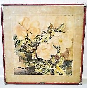 RARE Vintage BOTANICAL Folding Card PAINTING Table Antique