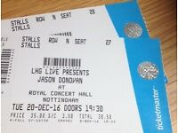 Jason Donovan Tickets (x2) - Tues 20th December - Nottingham Royal Concert Hall