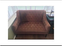 2 seater settee sofa chaise lounge purple brown velvet shabby chic