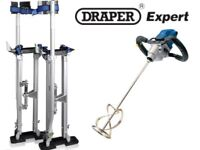 "BWK LARGE PLASTERING STILTS 24-40"" + DRAPER EXPERT 110V MIXER MIXING DRILL"