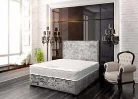 Crushed Velvet Double Bed Delivery Today MEMORYFOAM Mattress ORTHOPAEDIC Matching Headboard