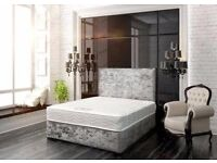 Delivery 7 Dyas A week CRUSHED Velvet Single Bed Double Bed King Bed and 25cm MEMORYFOAM Mattress