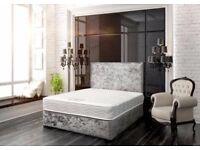 Crushed velvet divan bed +mattress+headboard complete set £200!!!