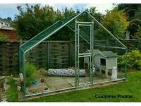 2m x 3m Walk In Metal Galvanised Steel Chicken Rabbit Dog Run Hutch Coop Kenel with Coated Mesh Wire