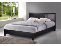 DOUBLE LEATHER BED AND SEMI ORTHOPAEDIC MATTRESS - SINGLE/KINGSIZE ALSO BRAND NEW - EXPRESS DELIVERY