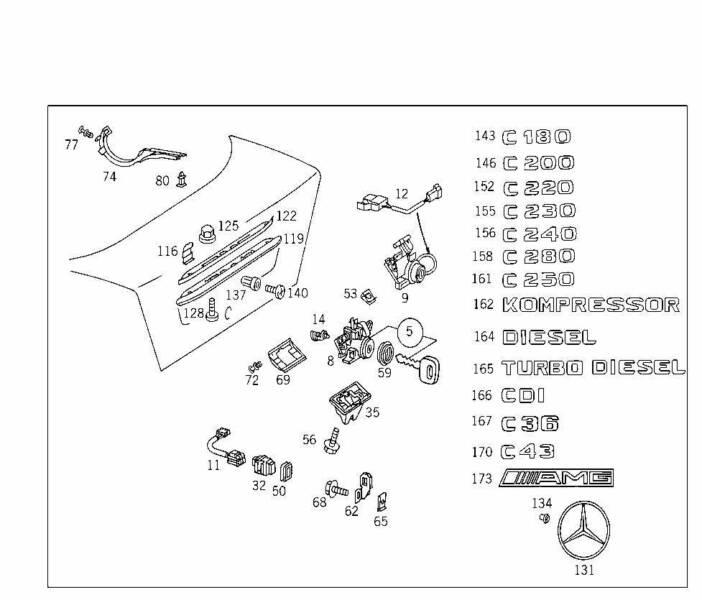 Mercedes Badge W202 C220 Pt No