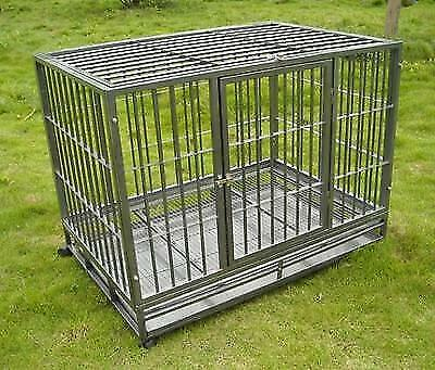 """Hammigrid 42"""" Commercial Quality Heavy Duty Pet Dog Cage Crate Kennel wWheels"""