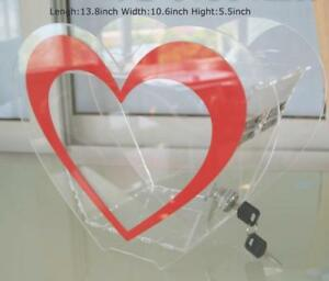 Heart Shaped Clear Plexiglass Lucite Acrylic Donation Charity Box Found-raising NO. 239105