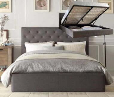 "BRAND NEW Modern ""CHESTER GAS LIFT"" Fabric Bed Frame HIGHEST QUALITY"