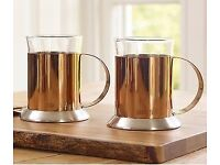 La Cafetiere 2 Copper and Glass coffee cups - brand new and great gift!