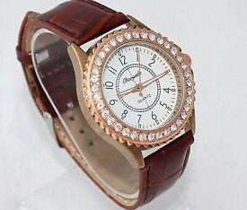 Women Ladies Casual Rhinestone Brown Leather Quartz Wristwatch